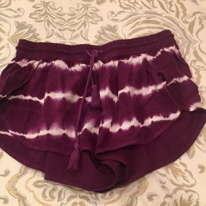 Tiedye rayon plum color shorts . Juniors size XS